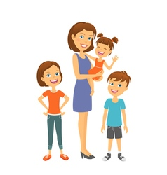 Mother with kids Happy family Mother with children vector image vector image