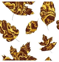 pattern with the image of the leaves with a golden vector image vector image