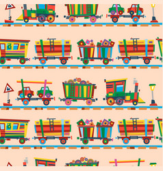 railway train station seamless pattern vector image vector image