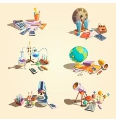 Science retro cartoon set vector image