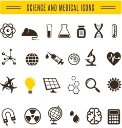 Scientist pack - Research Bio and chemistry icons vector image vector image