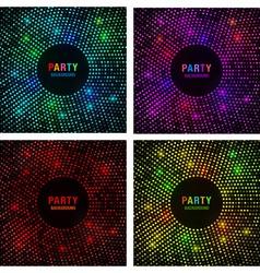 Set of Abstract Circular Colorful Bright Glow Back vector image