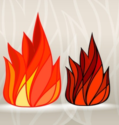 Stained glass style fire set vector image