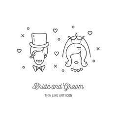 bride groom icons wedding couple signs love line vector image vector image