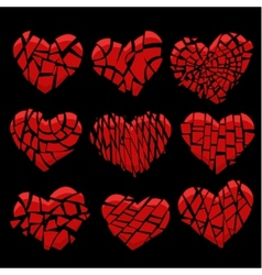 broken red heart on black vector image vector image
