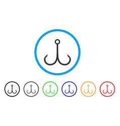 Double fishing hook rounded icon vector