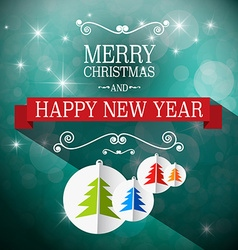 Merry Christmas and Happy New Year Retro Blue vector image