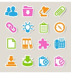 Office sticker icons set vector image