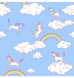 unicorns pattern clouds vector image vector image