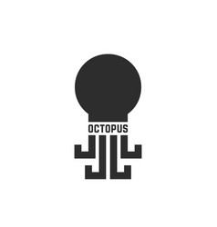 black simple octopus logo isolated on white vector image vector image