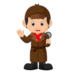 detective boy cartoon vector image