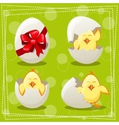 Easter eggs chicks vector