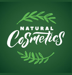 natural cosmetics logo stroke green leaves vector image
