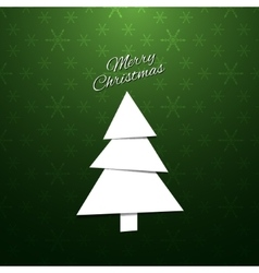 Paper Christmas Tree on a green background vector image