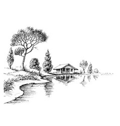 river bank panorama nature artistic sketch vector image vector image