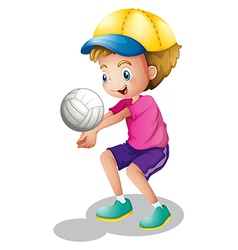A young man playing volleyball vector image