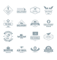 delivery service logo icons set simple style vector image vector image