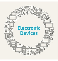 Electronic Devices Line Art Icons Set Circle vector image