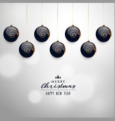 elegant hanging christmas balls background vector image