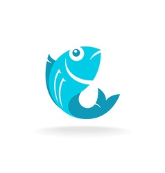 Fish logo Flat blue colors vector image vector image