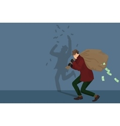 Thief piracy character with money bag vector image