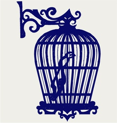 Vintage bird cages vector image