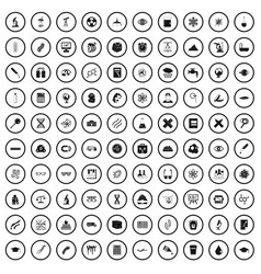 100 microscope icons set simple style vector