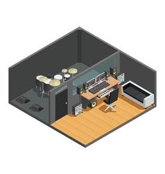 1612i101003Sm004c11music studio isometric interior vector image