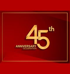 45 anniversary celebration logotype golden color vector
