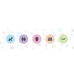 5 girl icons vector