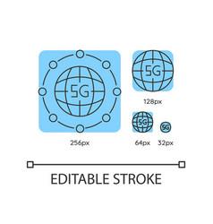 5g worldwide availability blue linear icons set vector