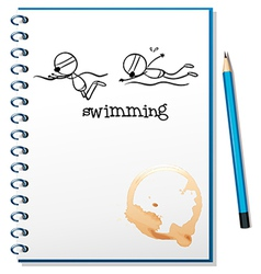 A notebook with a sketch of two people swimming vector image