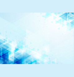 Abstract blue triangles on soft background vector