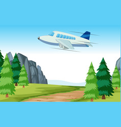 Airplane flying over woods vector