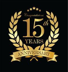 anniversary golden laurel wreath 15 years 3 vector image