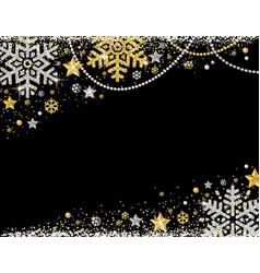 black christmas background with frame of golden vector image