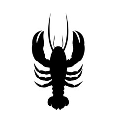 Black silhouette graphic with lobster vector