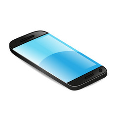 black smartphone with blue screen vector image
