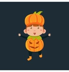 Boy In Jack Pumpkinhead Haloween Disguise vector