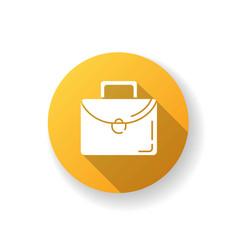 briefcase yellow flat design long shadow glyph vector image
