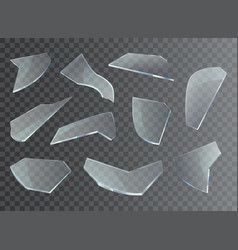 broken glass shards pieces and splinter shatters vector image