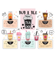 bubble tea menu caffe delicious drinks recent vector image