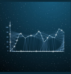 business wireframe charts on digital space low vector image