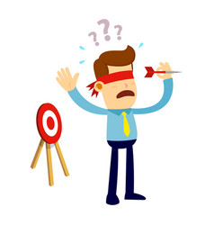 Businessman with blindfold trying to throw a dart vector