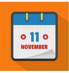 calendar eleventh november icon flat style vector image