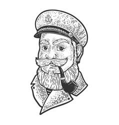 captain smoking pipe sketch vector image