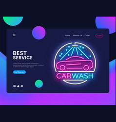Car wash concept banner car wash neon sign can vector