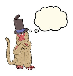 Cartoon monkey wearing hat with thought bubble vector