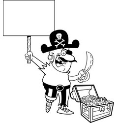 cartoon pirate holding a sign vector image