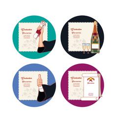 Celebration graduation card set icons vector